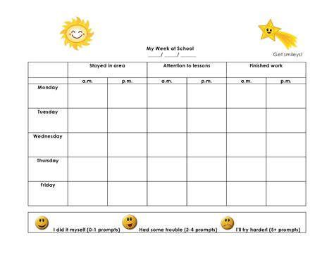 smiley behavior chart template smiley behavior chart template search results
