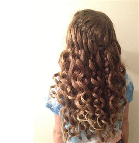 wedding hair and curled curly hair waterfall braid homecoming hair styles