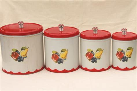 vintage canister set tins w 1950s retro fruit print