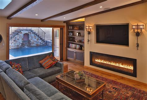 linear fireplace Family Room Mediterranean with bi fold