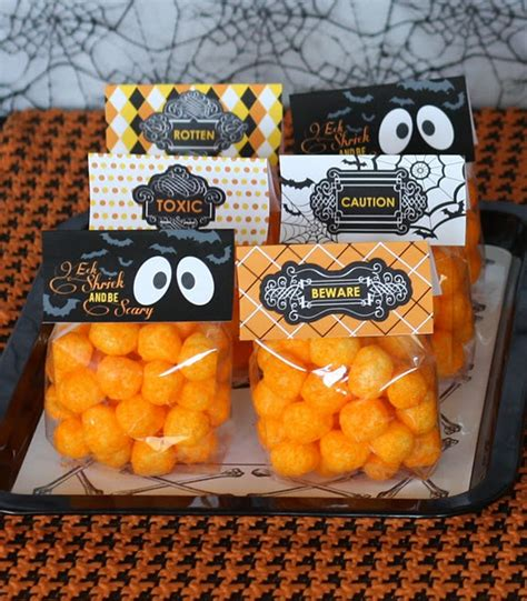37 halloween party ideas crafts favors games treats cheese puff treat bags halloween pinterest