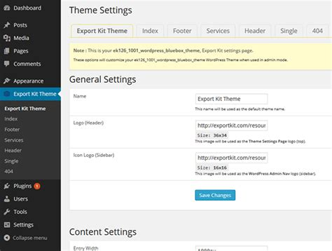 wordpress export layout convert a psd to wordpress theme export kit