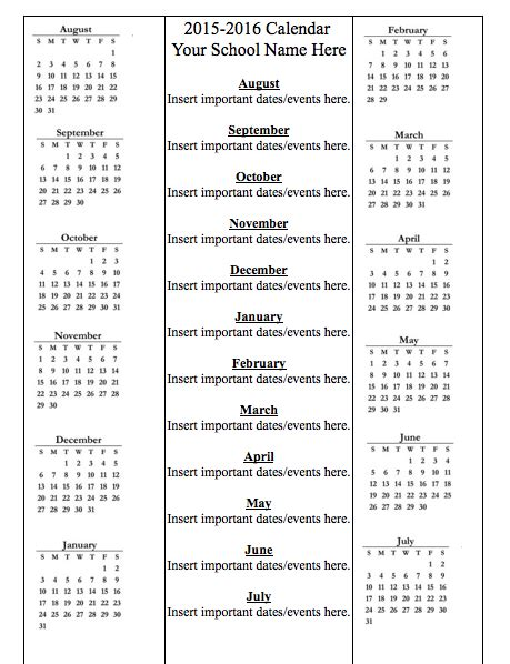 school year calendar template 2015 2016 school year calendar template education world