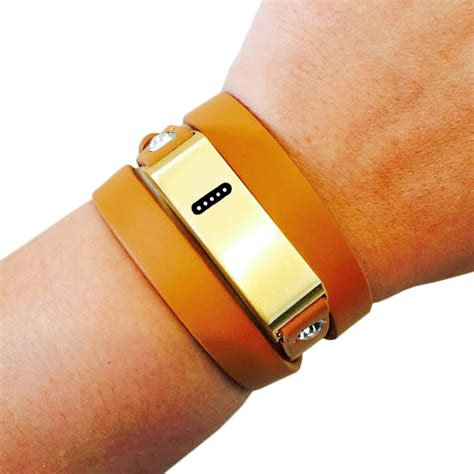 The KATE Tan and Gold Crystal Wrap Fitbit Flex Bracelet