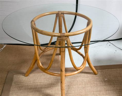vintage bamboo rattan dining table and chairs at