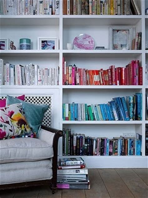 color coordinated books shelves