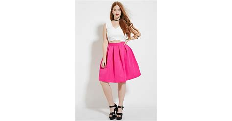 forever 21 plus size pleated skirt in pink lyst