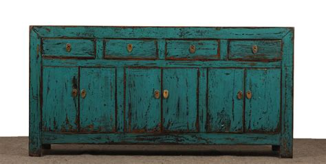 Turquoise Media Cabinet by Vintage Sideboard Cabinet Media Console Painted