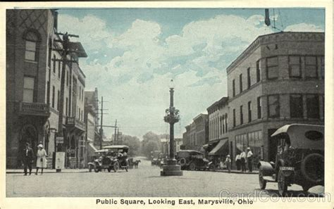 Marysville Ohio Post Office by Square Looking East Marysville Oh Postcard