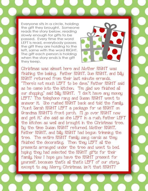 left right across gift exchange story gift exchange story free printable i ve done this at white elephant gift it was so
