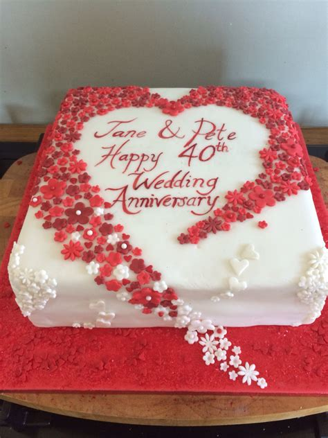 Wedding Anniversary Ideas Pictures by Hearts And Flowers 40th Wedding Anniversary Cake Ruby