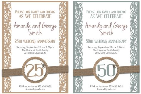 25th anniversary invitation card templates anniversary invitation templates free printable