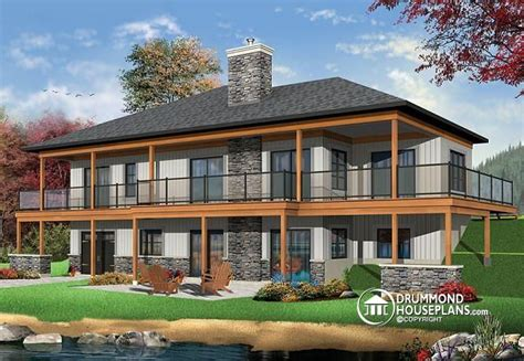 large cottage house plans w3967 lakefront house plan 4 bedrooms open floor plans large covered terrace walkout