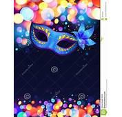 Fundo Azul Do Cartaz Vetor Da M&225scara Carnaval
