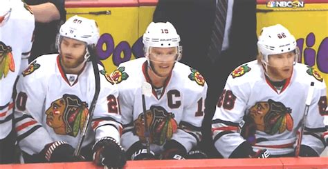 toews and kane fight on bench chicago blackhawks bench moments gif find share on giphy