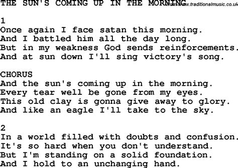 country southern and bluegrass gospel song the sun s