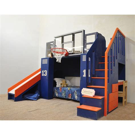 bunk bed with slide and desk the basketball bunk bed backboard slide and more