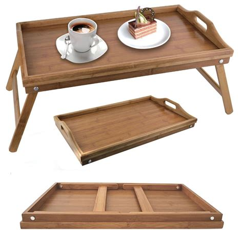 Bed Stand Bamboo Folding Breakfast Tray Bed Wood Table