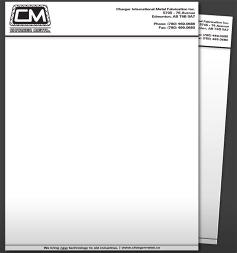 word letterhead template with logo green ink graphics edmonton ab charger metal page 01