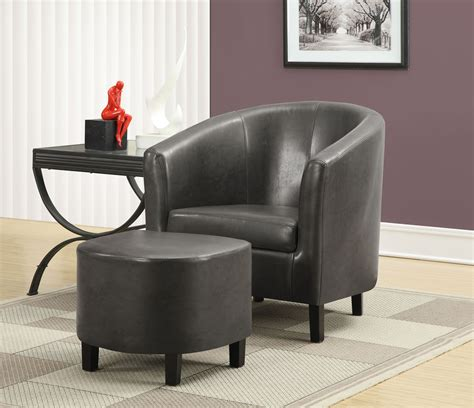 small leather chair and ottoman small side table in living room and black leather accent