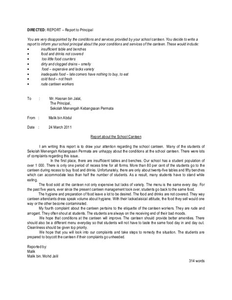 Formal Letter Complaint About School Canteen Sle For Spm Directed Writing