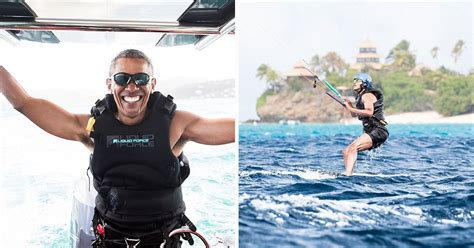vacation obama barack obama goes kitesurfing with richard branson on
