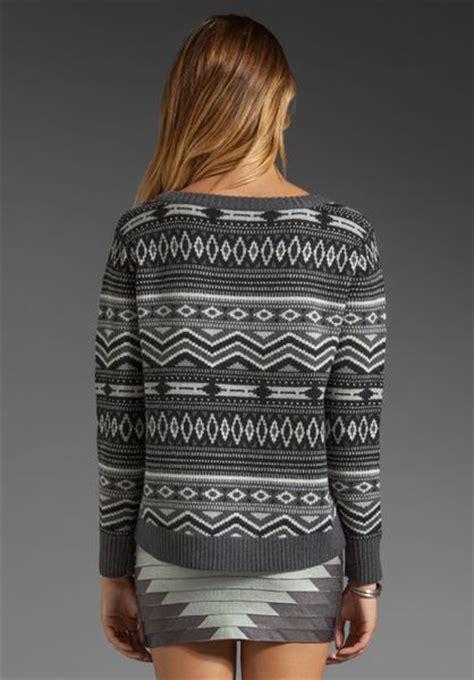 Sweater Tribal Grey haute hippie tribal fairisle sweater in grey multi in gray lyst