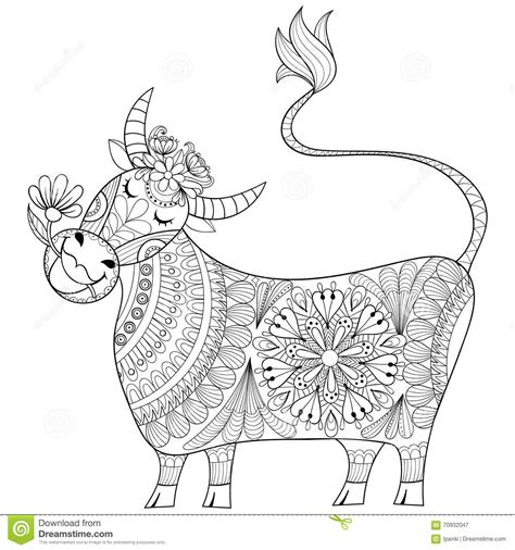 coloring page with cow zenart stylized drawing