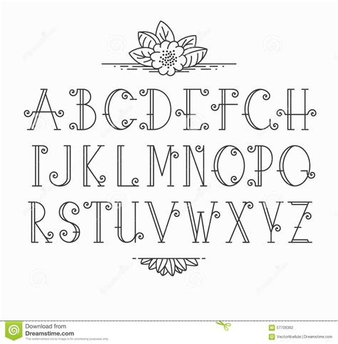 learn to create deco lettering books line vector decorative font stock vector image 57709362