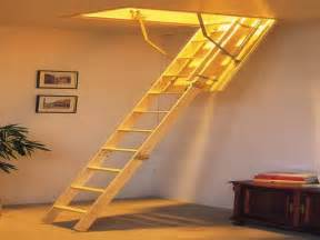 Wooden folding attic stairs