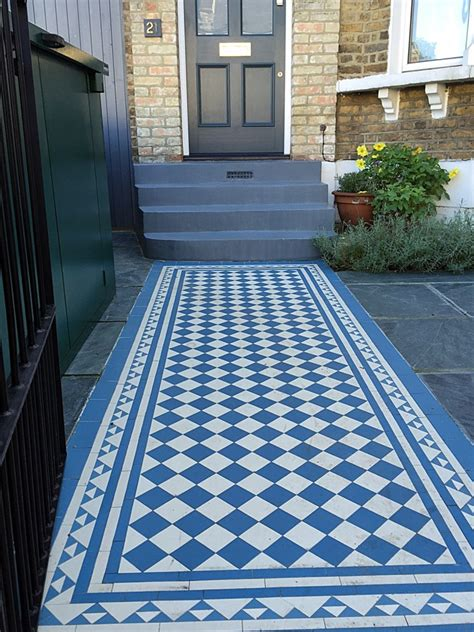 garden wall tiles blue and white mosaic tile path slate paving