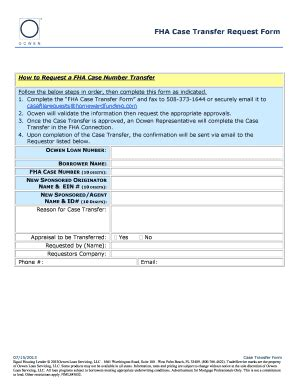 Search Fha Number Fillable Fha Transfer Request Form Ocwen Loan Servicing Llc Fax Email