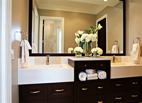 paint bathroom cabinets espresso calcutta marble hex tiles transitional bathroom
