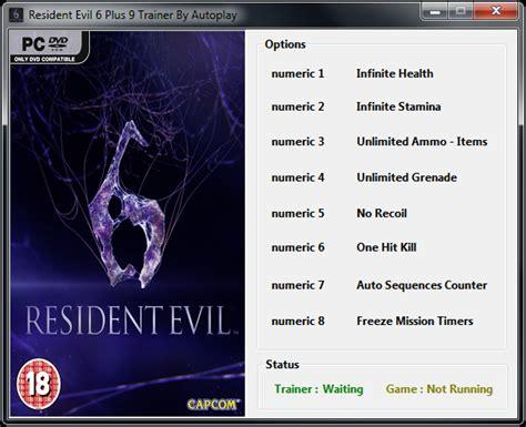 resident evil 6 cheats trainer pc reuridbamo s diary trainer 6 resident evil 6 trailer