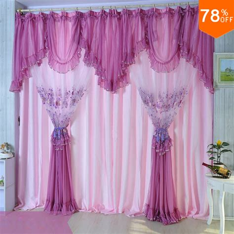 Pink And Purple Curtains Pink Quality Embroidered Lace Curtain Purple Window Finished Curtain Screening Dodechedron Belt