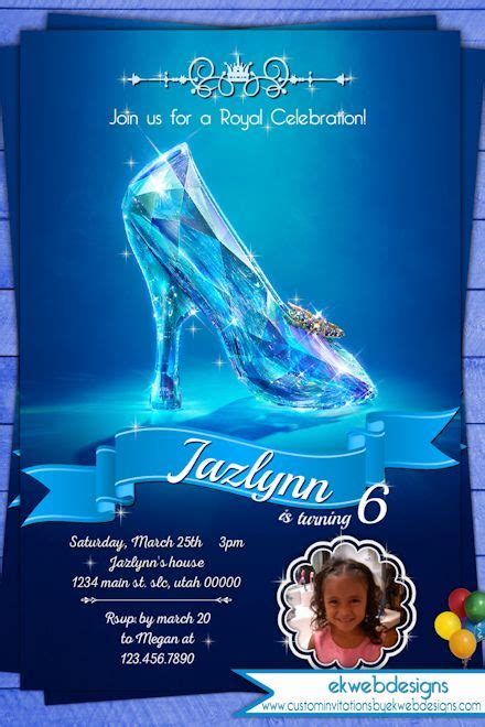 Cinderella Birthday Invitations   Cinderella Glass Slipper invitation