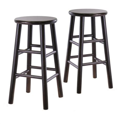 24 Counter Stools 24 Quot Counter Bar Stools In Espresso Set Of 2 92784