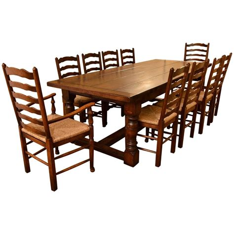 bespoke solid oak refectory dining table 10 chairs