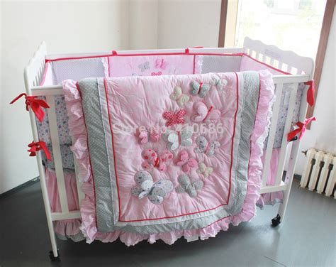Cot Bedding Sets Pink Princess Baby Crib Bedding Sets 7pcs Nursery Cot Kit Set 3d Pink Butterflys Lace Quilt