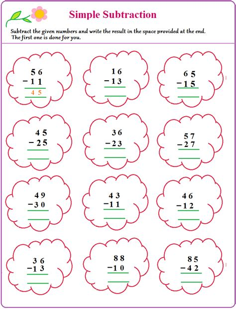 Subtraction Worksheets With Pictures by Free Coloring Pages Of Simple Subtraction