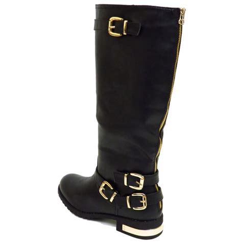 flat black ex designer zip biker knee wide fit