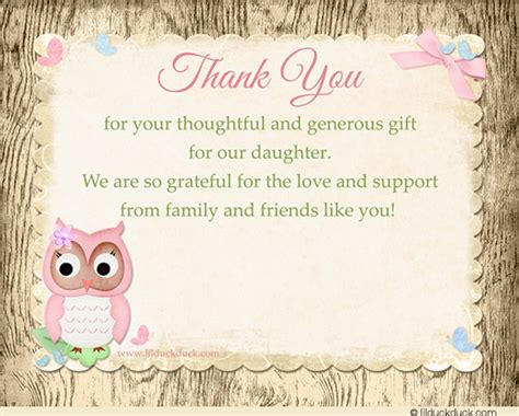 Thank You Card Sayings For Baby Shower Gifts - baby shower thank you card verse ideas shower party themes
