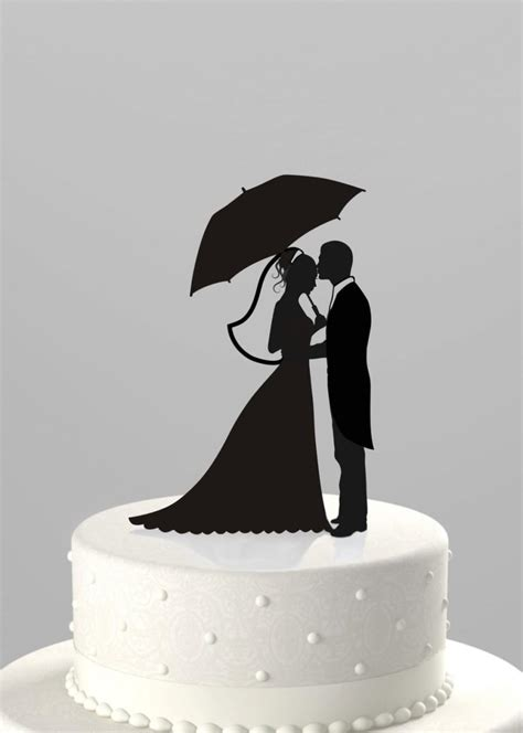 Topper Siluet Wedding Acrilik wedding cake topper silhouette groom with holding umbrella acrylic cake topper ct37