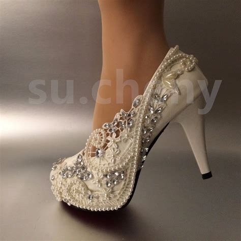 Wedding Shoes Size 5 by 3 4 Quot Heel White Ivory Lace Pearls Wedding Shoes