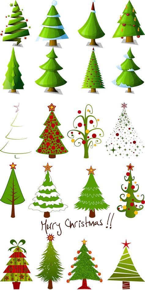 cartoon christmas tree designs vector vector graphics blog