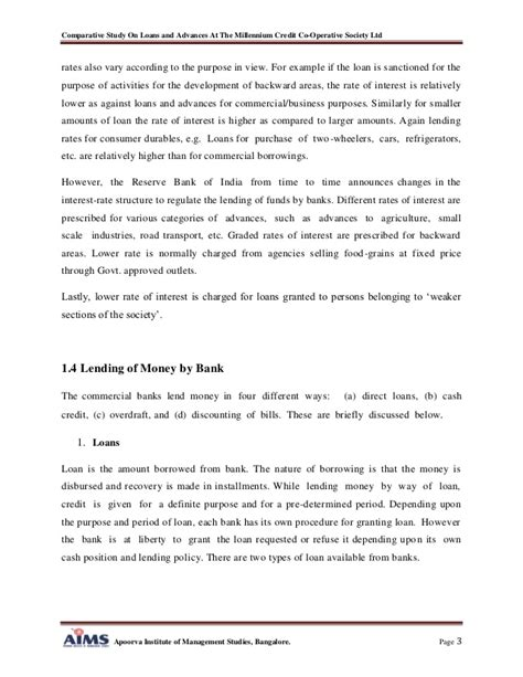 Loan Notification Letter A Comparative Study On Loans And Advances
