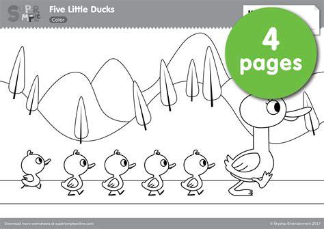 five little ducks coloring pages super simple