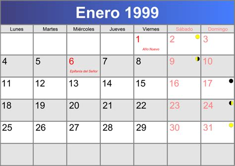 Calendario De 1999 Calendario Enero 1999 Imprimible Pdf Abc Calendario Es
