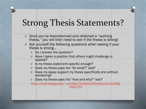 thesis statement ppt crafting thesis statements and utilizing topic