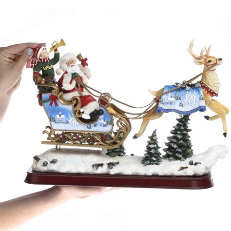 vintage inspired santa and reindeer figurine table decor